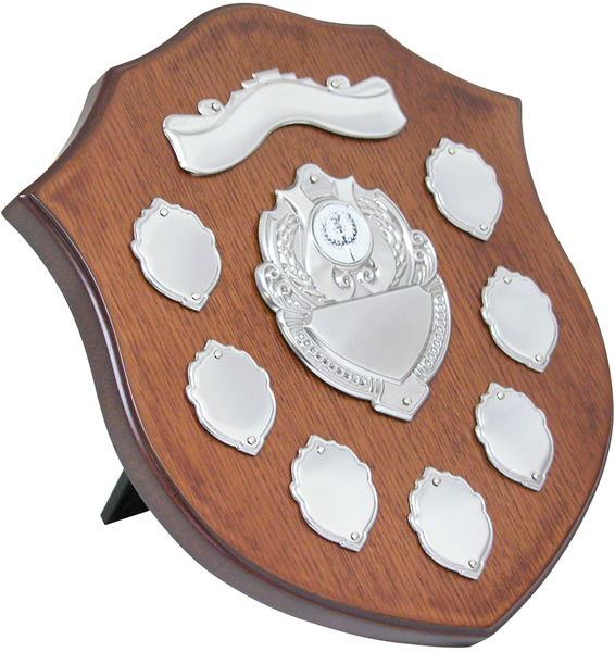 "Wooden Shield with Chrome Fronts 26.5cm (10.5"")"