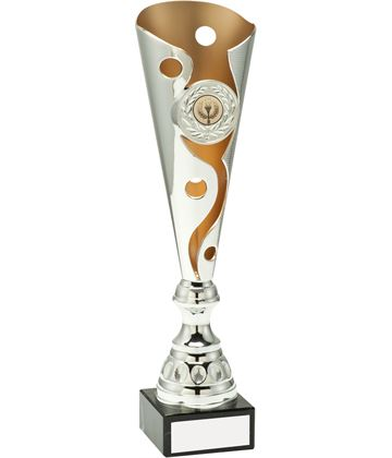 "Silver & Gold Carnival Trophy Cup On Marble Base 40.5cm (16"")"
