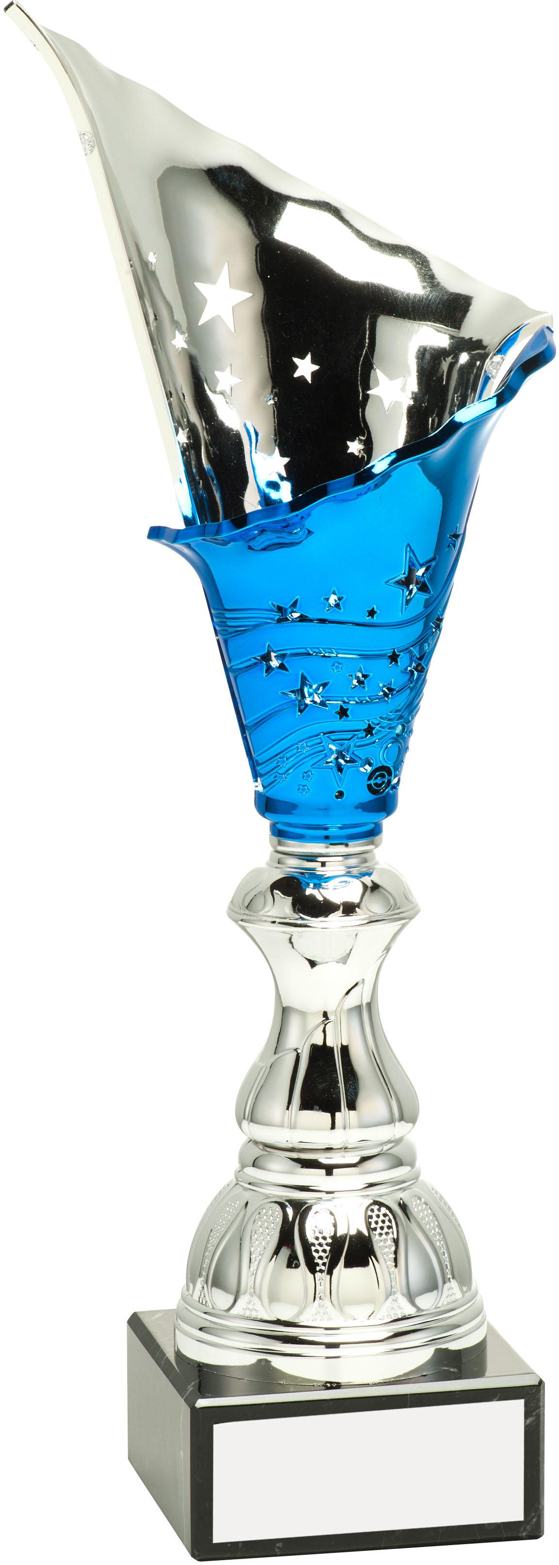 "Silver & Blue Spiral Trophy Cup 30cm (11.75"")"