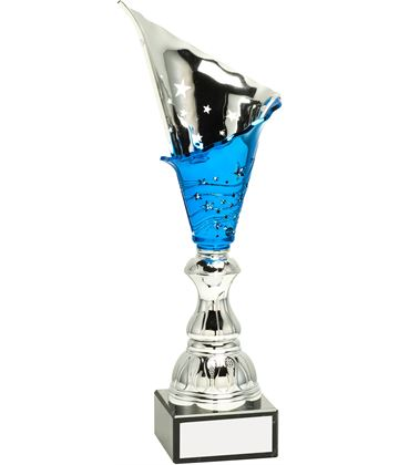 "Silver & Blue Spiral Trophy Cup 36cm (14.25"")"