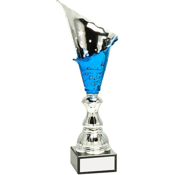 "Silver & Blue Spiral Trophy Cup 32.5cm (12.75"")"