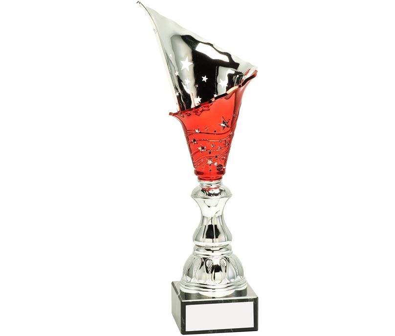 "Silver & Red Spiral Trophy Cup 30cm (11.75"")"