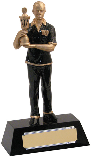 "Resin Male with Gold Cup Darts Award 20.5cm (8"")"