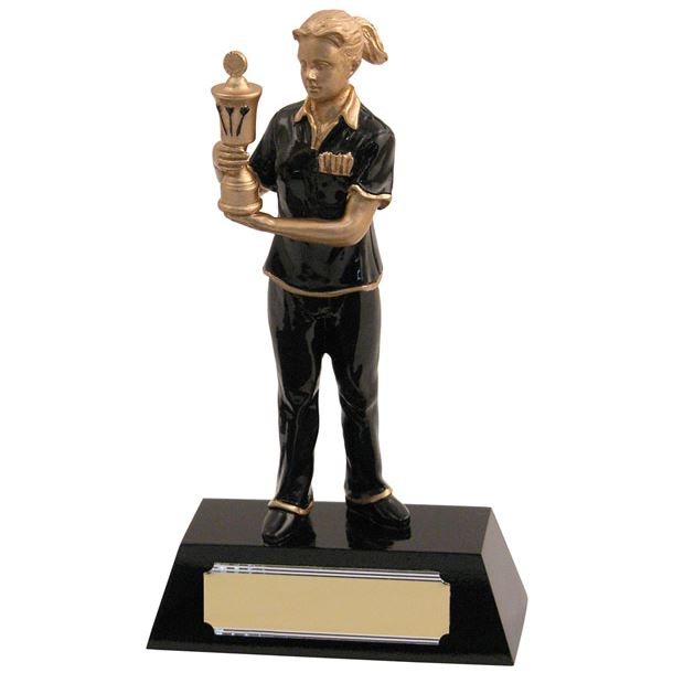 """Resin Female with Gold Cup Darts Award 20.5cm (8"""")"""