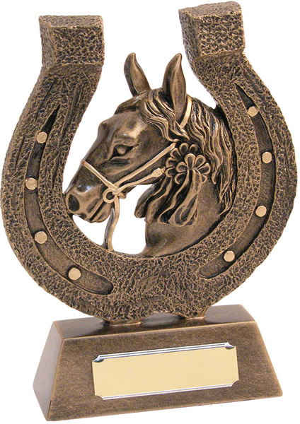 """Antique Gold Horsehead and Shoe Trophy 18cm (7"""")"""