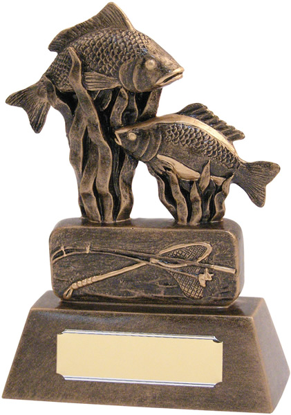 "Resin Antique Gold Fishing Trophy 20.5cm (8"")"