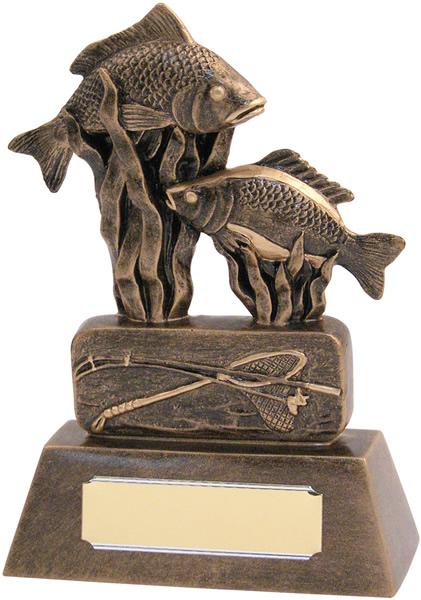 "Resin Antique Gold Fishing Trophy 20.5cm (8"")"