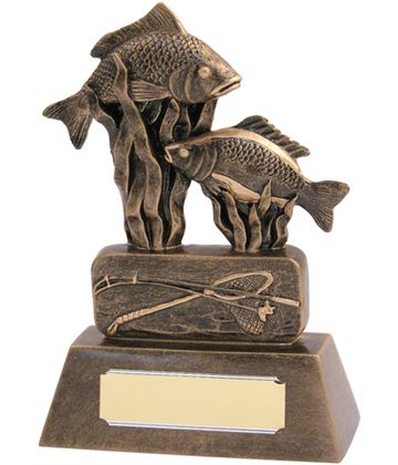 "Resin Antique Gold Fishing Trophy 16cm (6.25"")"