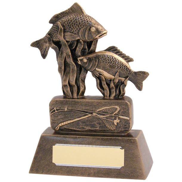 "Resin Antique Gold Fishing Trophy 16cm (6.25"")"