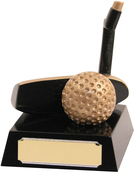 "Black and Gold Resin 'Putter' Trophy 11.5cm (4.5"")"
