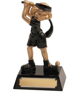 "Resin Black and Gold Female Comic Trophy 14cm (5.5"")"