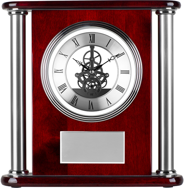 "Silver & Piano Rosewood Finished Presentation Clock 29cm (11.5"")"