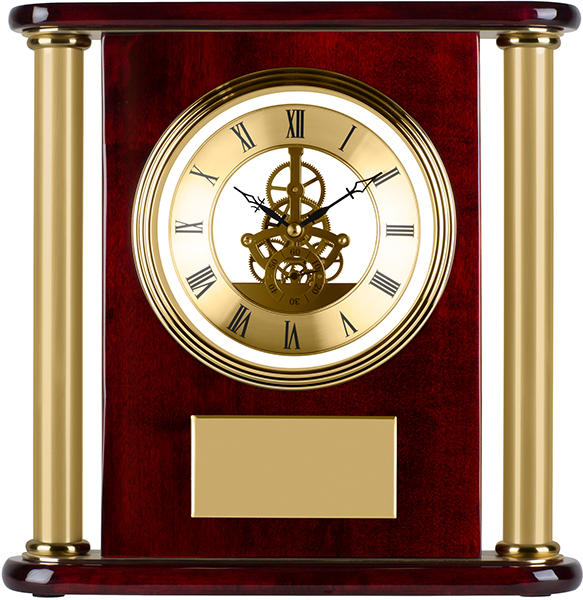 "Gold & Piano Rosewood Finished Presentation Clock 29cm (11.5"")"