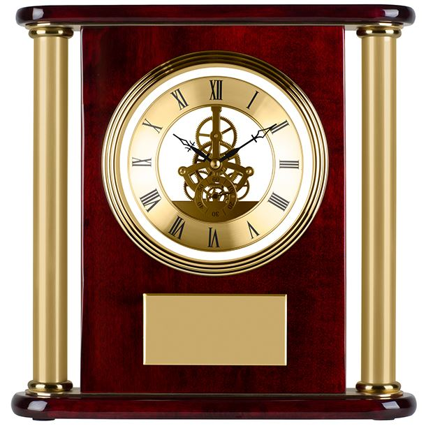 """Gold & Piano Rosewood Finished Presentation Clock 29cm (11.5"""")"""