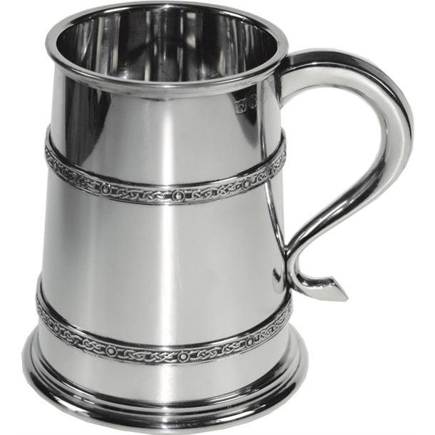 "Double Celtic Band 1pt Sheffield Pewter Tankard 12cm (4.75"")"