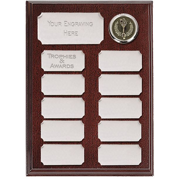"Rosewood Presentation Plaque With 11 Silver Plates 20.5cm (8"")"