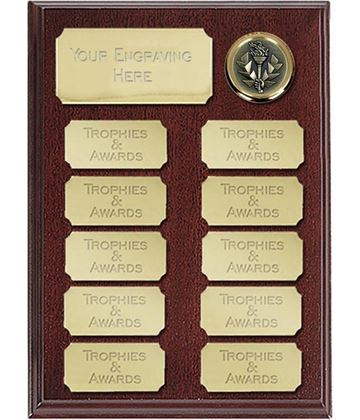 "Rosewood Presentation Plaque With 11 Gold Plates 20.5cm (8"")"