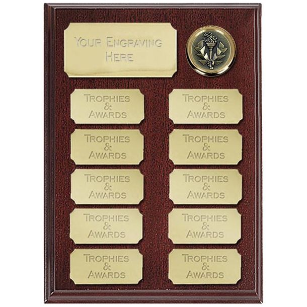 """Rosewood Presentation Plaque With 11 Gold Plates 20.5cm (8"""")"""