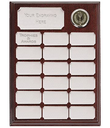 "Presentation Plaque With 19 Silver Plates 23cm (9"")"