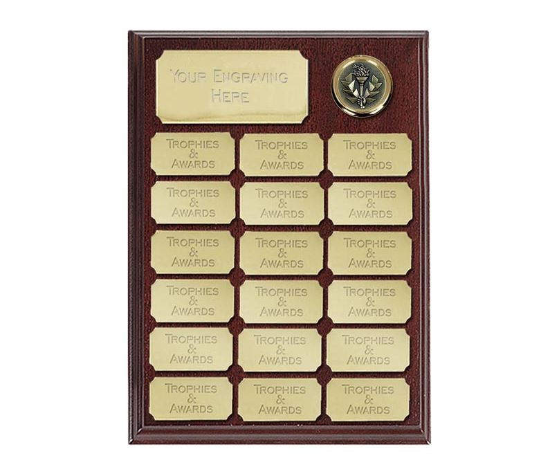 """Rosewood presentation plaque with 19 gold plates 23cm (9"""")"""
