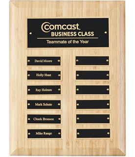 """Bamboo Presentation Plaque with Gold & Black Brass Plates 30.5cm (12"""")"""