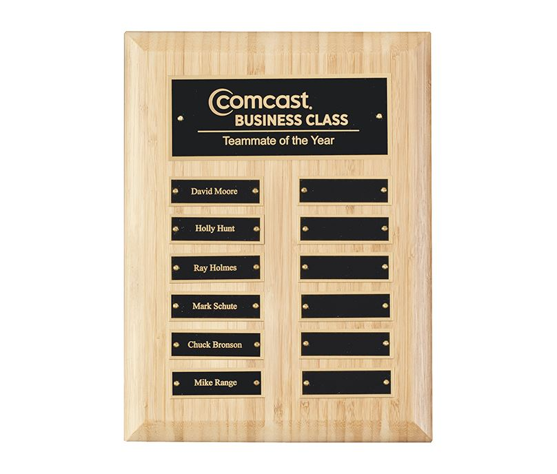 "Bamboo Presentation Plaque with Gold & Black Brass Plates 30.5cm (12"")"