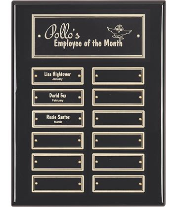 "Gloss Black Presentation Plaque with Gold & Black Brass Plates 30.5cm (12"")"