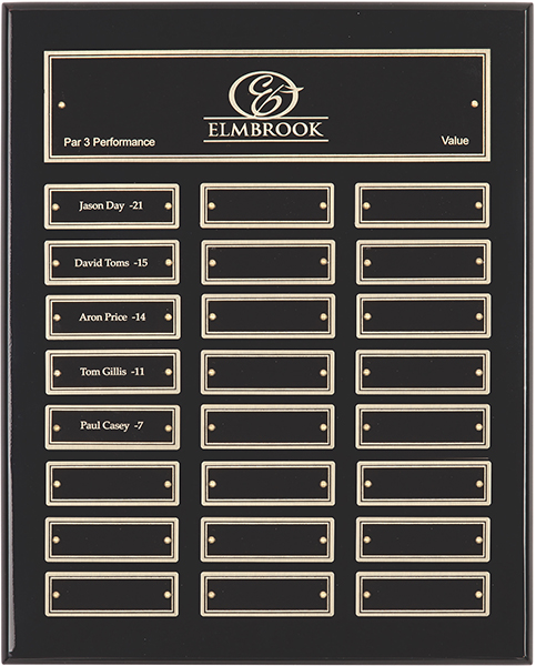 "Gloss Black Presentation Plaque with Gold & Black Brass Plates 33cm (13"")"