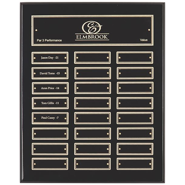 "Gloss Black Presentation Plaque with Gold & Black Brass Plates 33cm (13"")"