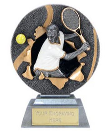 "X-Plode Male Resin Tennis Trophy 9.5cm (3.75"")"