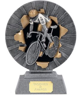 "Road Cyclist Trophy with Gold & White Trim 15cm (6"")"