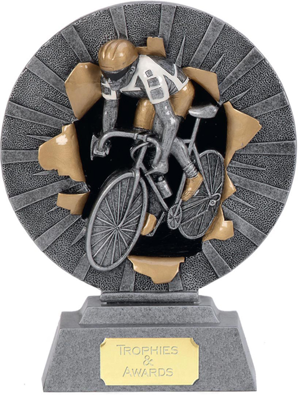 """Road Cyclist Trophy with Gold & White Trim 15cm (6"""")"""