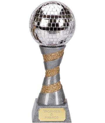 "Silver Resin X-Plode Mirror Ball Trophy 15cm (6"")"
