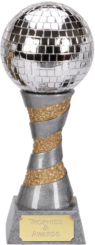 "Silver Resin X-Plode Mirror Ball Trophy 23cm (9"")"