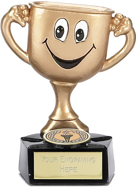 "Children's Trophy Cup Gold with Face 9.5cm (3.75"")"
