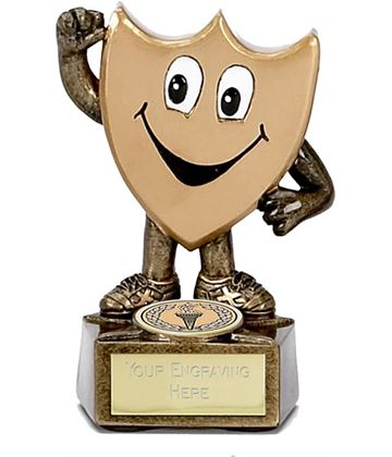"Children's Trophy Shield Man Gold with Face 9.5cm (3.75"")"