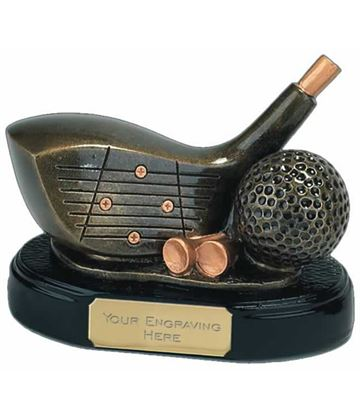"""Gold Golf Club Driver Trophy 10cm (4"""")"""