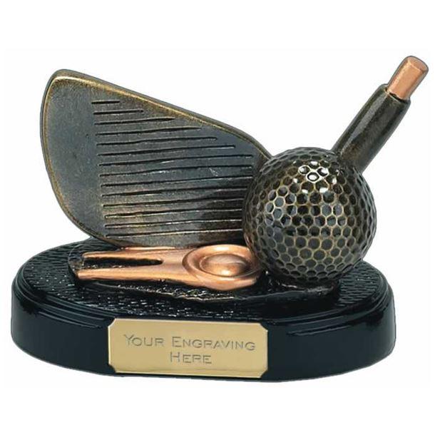 """Gold Golf Club Iron Trophy 10cm (4"""")"""