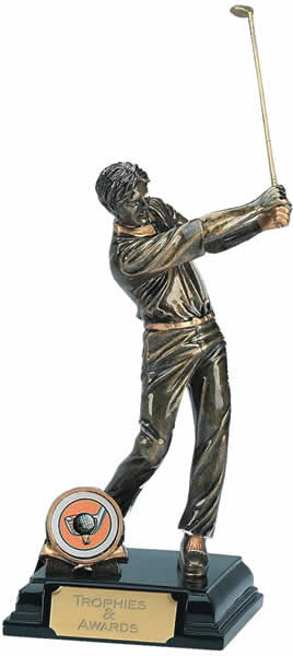 "Golfer Swinging Golf Club Trophy 19.5cm (7.75"")"