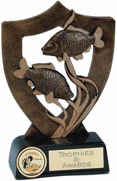 "Fishing Trophy with Two Fish 13.5cm (5.25"")"