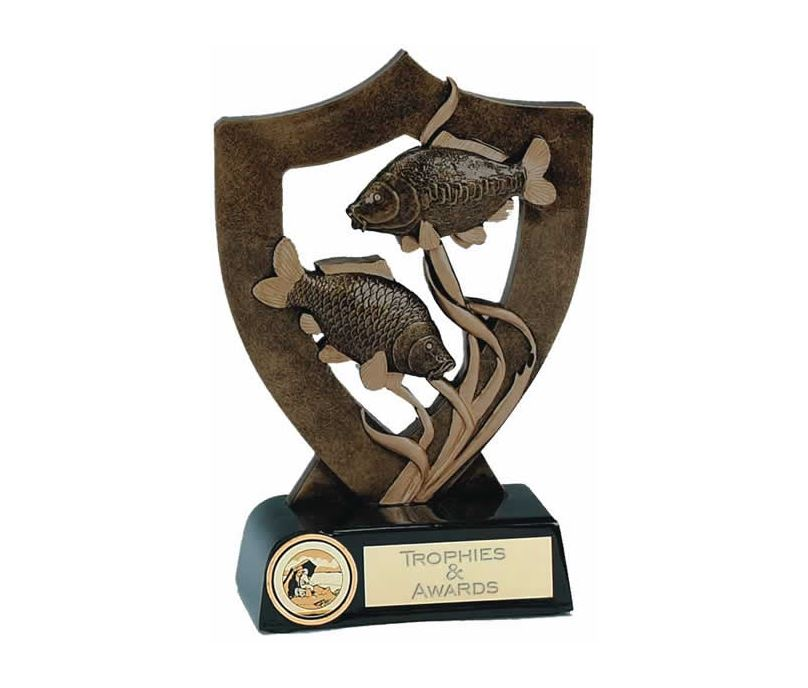 """Fishing Trophy with Two Fish 18cm (7"""")"""