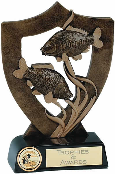 "Fishing Trophy with Two Fish 20.5cm (8"")"
