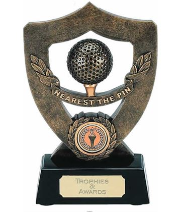 "Gold Nearest The Pin Trophy Shield 18cm (7"")"