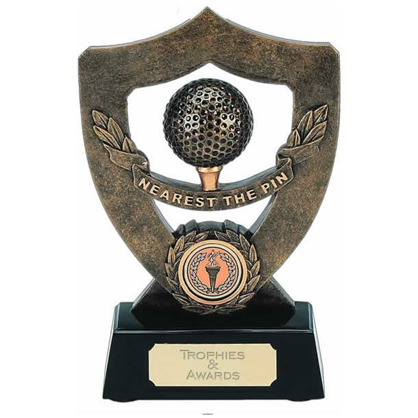 "Gold Nearest The Pin Trophy Shield 18cm (7"")"