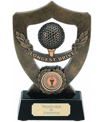 "Longest Drive Trophy Shield in Gold 18cm (7"")"