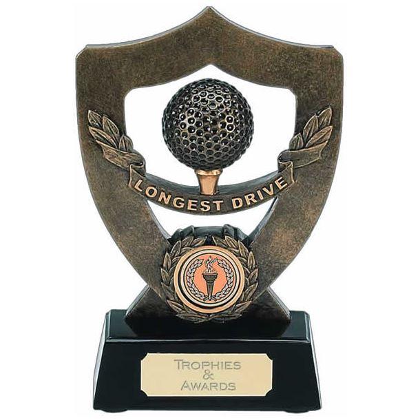 """Longest Drive Trophy Shield in Gold 18cm (7"""")"""