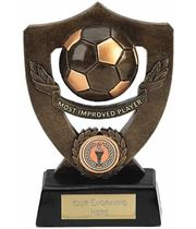 """Most Improved Player Football Shield Award 18cm (7"""")"""
