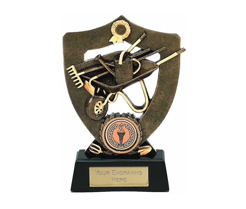 "Antique Gold Gardening Trophy Award 14cm (5.5"")"