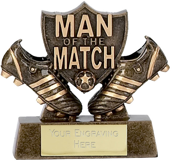 "Man of the Match Pair of Boots Football Trophy 8cm (3.25"")"