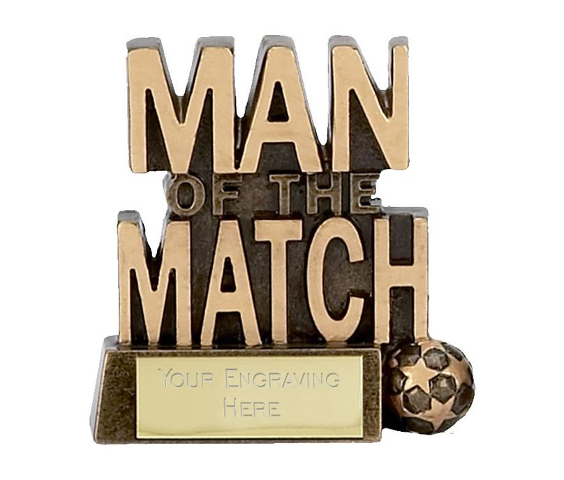 "Man of the Match with Small Ball Football Trophy 8cm (3.25"")"